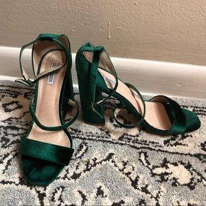 Shoes - Green Velvet-like  Heel